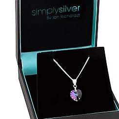 Simply Silver - Sterling silver crystal heart necklace made with swarovski elements