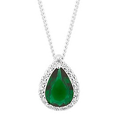 Simply Silver - Sterling silver green cubic zirconia peardrop necklace