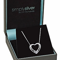 Simply Silver - Online exclusive sterling silver cubic zirconia double heart necklace
