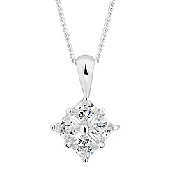 Simply Silver - Sterling silver cubic zirconia four square drop necklace