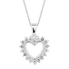 Simply Silver - Sterling silver cubic zirconia surround heart necklace