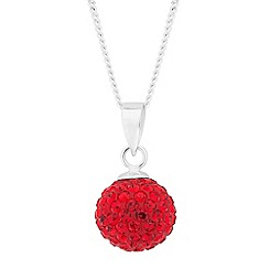 Simply Silver - Sterling silver red crystal ball drop necklace
