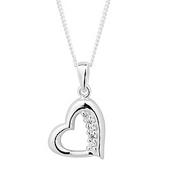 Simply Silver - Sterling silver cubic zirconia curved heart necklace