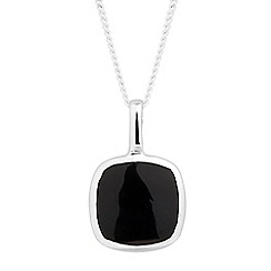 Simply Silver - Sterling silver onyx square drop necklace