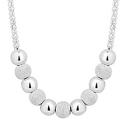 Simply Silver - Sterling silver polished and glitter ball necklace