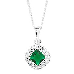 Simply Silver - Sterling silver green cubic zirconia square drop necklace
