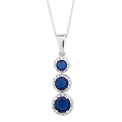 Simply Silver - Sterling silver blue cubic zirconia triple drop necklace