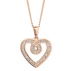 Simply Silver - Sterling silver cubic zirconia swirl heart drop necklace