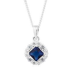 Simply Silver - Sterling silver blue cubic zirconia square drop necklace