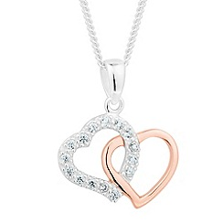 Simply Silver - Sterling silver two tone interlinked heart necklace