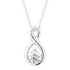Simply Silver - Sterling silver cubic zirconia infinity drop necklace