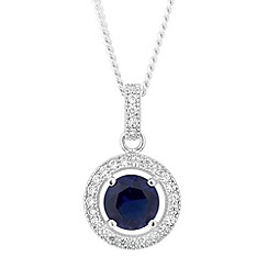 Simply Silver - Blue cubic zirconia halo pendant