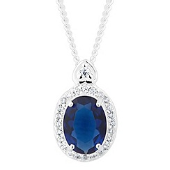 Simply Silver - Sterling silver oval blue cubic zirconia heart top necklace
