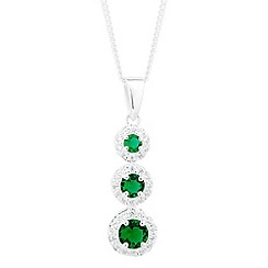 Simply Silver - Sterling silver clara green cubic zirconia triple drop necklace