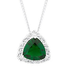 Simply Silver - Sterling silver green cubic zirconia triangular drop necklace