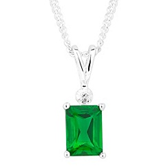 Simply Silver - Sterling silver green cubic zirconia baguette drop necklace