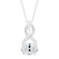 Simply Silver - Sterling silver oval cubic zirconia twist top necklace