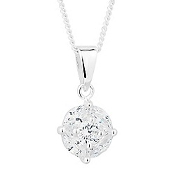 Simply Silver - Sterling silver round cubic zirconia drop necklace