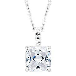 Simply Silver - Sterling silver cubic zirconia square drop necklace