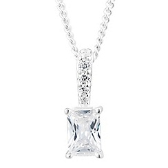 Simply Silver - Sterling silver cubic zirconia rectangular stick drop necklace