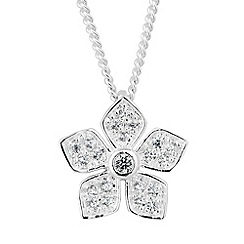 Simply Silver - Sterling silver cubic zirconia embellished flower necklace