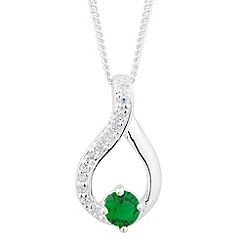 Simply Silver - Sterling silver green cubic zirconia loop necklace
