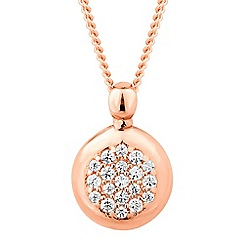 Simply Silver - Rose gold plated sterling silver embellished round drop necklace