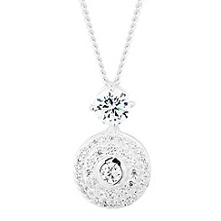Simply Silver - Sterling silver cubic zirconia disc drop necklace