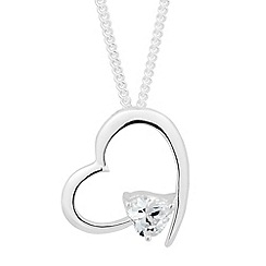 Simply Silver - Sterling silver cubic zirconia open heart necklace