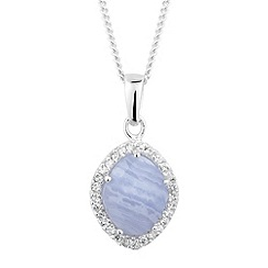 Simply Silver - Sterling silver blue lace agate and cubic zirconia drop necklace