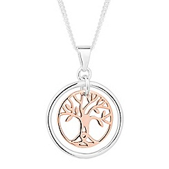 Simply Silver - Sterling silver two tone tree of life pendant necklace
