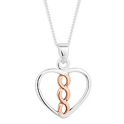 Simply Silver - Rose gold plated sterling silver heart twist drop necklace