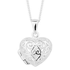 Simply Silver - Sterling silver filigree heart pendant necklace