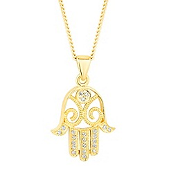 Simply Silver - Gold plated sterling silver hamsa hand pendant necklace