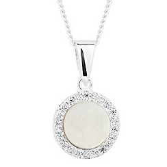 Simply Silver - Sterling silver mother of pearl surround drop necklace