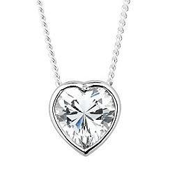 Simply Silver - Sterling silver cubic zirconia heart drop necklace