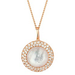 Simply Silver - Rose gold mother of pearl round drop necklace