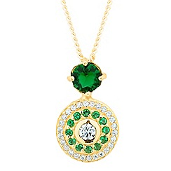 Simply Silver - Gold plated sterling silver green disc drop necklace