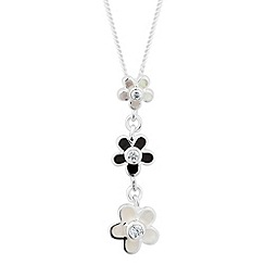 Simply Silver - Sterling silver mother of pearl and onyx floral drop necklace
