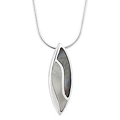 Simply Silver - Sterling silver mother of pearl encased leaf drop necklace