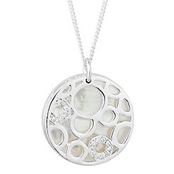 Simply Silver - Sterling silver mother of pearl disc drop necklace