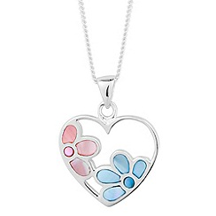 Simply Silver - Sterling silver pink and blue flower encased heart drop necklace