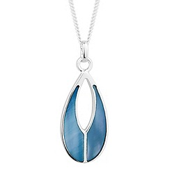 Simply Silver - Sterling silver blue mother of pearl teardrop necklace