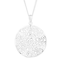 Simply Silver - Sterling silver filigree floral disc drop necklace