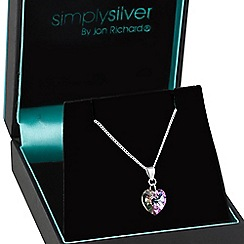 Simply Silver - Sterling silver vitrail light heart drop necklace MADE WITH SWAROVSKI CRYSTALS