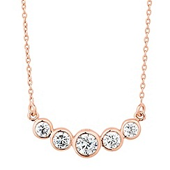 Simply Silver - Rose gold plated sterling silver round bar necklace