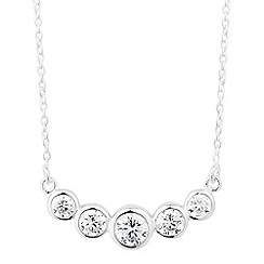 Simply Silver - Sterling silver round cubic zirconia bar necklace