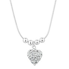 Simply Silver - Sterling silver crystal heart drop necklace
