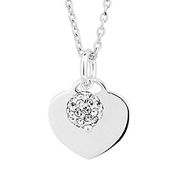 Simply Silver - Sterling silver crystal ball and heart charm necklace