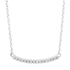 Simply Silver - Sterling silver cubic zirconia encased curved bar necklace